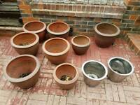 Good quality Brown plant pots - assorted sizes - used