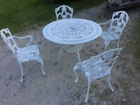 Cast Aluminium garden table and 4 chairs