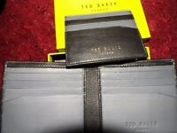 Ted Baker Black And Grey Soft Leather Wallet With Card Holder (New In Original Box but no tags)