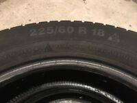 4 x Winter tyres. 225/60 R18. ContiWinterContact TS830p. Almost new condition