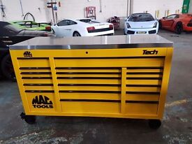 MAC TOOLS TECH 1080 WITH STAINLESS TOP FULL OF TOOLS