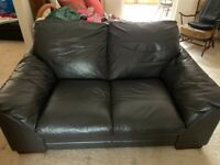2x leather, 2 seater sofas