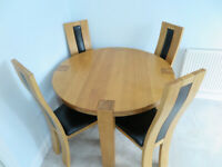 Large Circular Solid Hardwood Dining Table & 4 Matching High Back Dining Chairs - Excellent Cond!