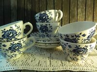 Vintage Broadhurst Jacobean Blue and White Floral Ironstone Tea Set x 6 Tea Cups and Saucers