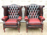 Queen Anne Chesterfield armchairs / High back chair (Delivery)