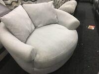New/Ex Display Dfs Grey Love, Cuddle, Swivel Sofa Chair