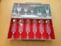 Set of Vintage French Cristal d'Arques Pompadour Champagne Flutes