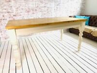 Antique Finish Farmhouse Pine Dining Table Extending Table Any Sizes - Any Farrow & Ball!