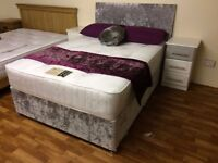 CRUSHED VELVET SILVER DOUBLE DIVAN BED COMPLETE WITH ORTHOPAEDIC MATRESS FREE HEADBOARD
