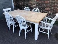 Beautiful shabby chic farmhouse pine table and six chairs.