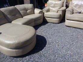 Beige leather. Not for a small room