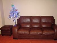 BROWN LEATHER 2 X 3 SEATER SOFAS PLUS 1 CHAIR