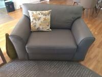 Next Leather Grey Two Seater Sofa