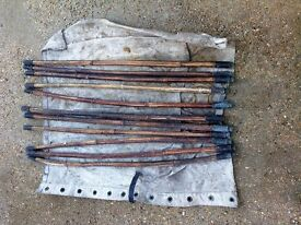 bamboo/cane drain or chimney rods with brass joints (vintage)