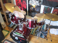 Mapex Tornado drum kit with double kick pedal and all needed hardware, and cymbals.