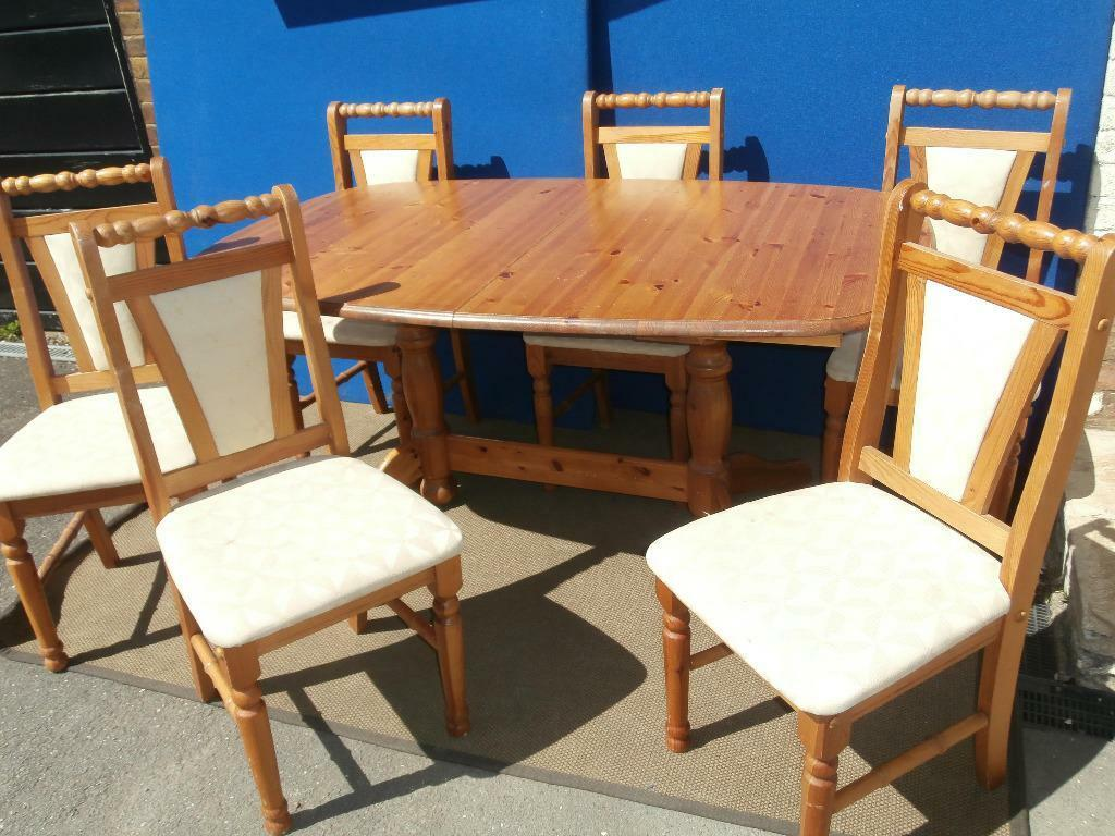 pine extendable dining table with 6 chairs delivery united kingdom