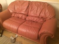 Terracotta leather sofa bed and recliner - Free for collection