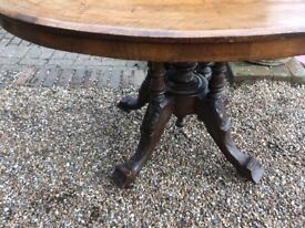 Antique Tilt Top Table with Inlaid Burr Walnut Top and Carved Turned Supports