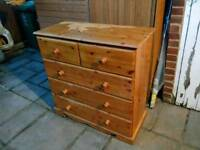 £65 Heavy Chunky Pine chest of drawers farmhouse shabby chic project
