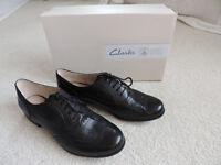 Ladies Clarks Black Brogue Shoes – Never worn – UK 7.5