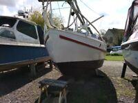 Sailing boat.Classic 60's Eventide 27ft Motorsailer