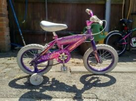 """Girls 14"""" firefly bicycle with stabilisers"""