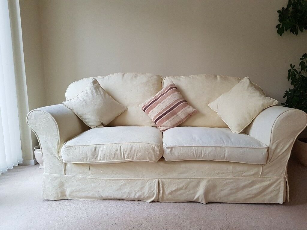 3 Seater Sofa Cuddler Chair And Footstool In Cream With Removable Covers Longford West Midlands Gumtree