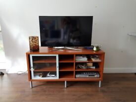 TV bench with shelves and sliding glass door