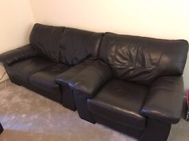 2 Seater Leather Sofa and Chair - Dark brown