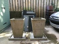 2 STONE GARDEN PLANTERS WITH BASES £50 EACH OR £80 FOR THE PAIR