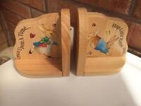 Wooden book ends Peter rabbit
