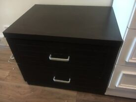 2 bedside tables and matching drawers dark brown