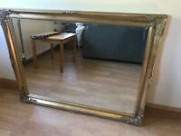 Large ornate shabby chic gold mirror 88cm x 116cm
