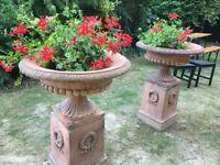 Pair of garden urns on plinths
