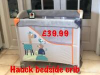 New in box Hauck bedside crib mini cot unisex animals design with under storage from birth