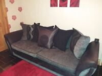 Black and grey sofa leather and cloth
