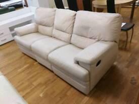 Cream leather 3 seater manual recliner sofa