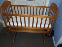 solid pine rocking crib