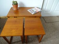 Vintage Mid Century Danish Influence Teak Nesting Tables