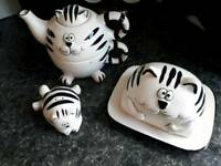 Cat china set (teapot and cup,butter dish,salt/pepper shaker)