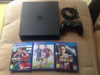 Sony ps4 slimline 500gb,wireless controller,3 games Fifa 14/15/pes 14,all relevant wires,as new