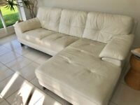 DFS sofa, white leather, corner L shape.