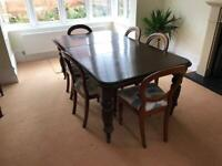 Dining room Table with 8 Chairs, with Leaf. Plus 2 cabinets - All as a set.
