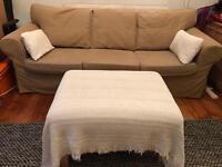 Nude Sofa & Footstool