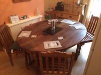 Indian style Drop Leaf Table and Chairs x 4