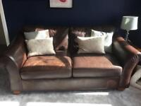 M&S 3 seater brown leather sofa