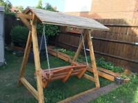 Wooden bench swing