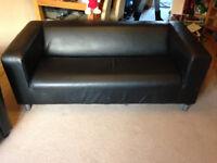 Ikea Klippan sofa with black leather effect cover