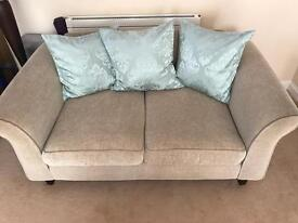 3 seater and 2 seater sofas with duck egg blue cushions x 6