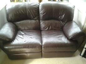Lazboy two seater manual reclining brown leather sofa
